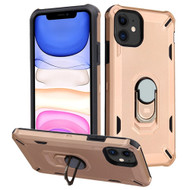 Military Grade Certified Brigade Hybrid Armor Case with Metal Ring Finger Loop Stand for iPhone 11 - Rose Gold