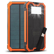 Solar Powered Portable Power Bank Battery Charger 20000mAh with Dual USB Ports - Orange Black