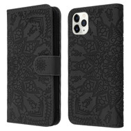 Mandala Book-Style Embossed Leather Folio Case for iPhone 11 Pro Max - Black