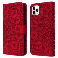 Mandala Book-Style Embossed Leather Folio Case for iPhone 11 Pro Max - Red