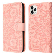 Mandala Book-Style Embossed Leather Folio Case for iPhone 11 Pro Max - Pink