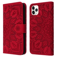 Mandala Book-Style Embossed Leather Folio Case for iPhone 11 Pro - Red