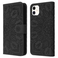 Mandala Book-Style Embossed Leather Folio Case for iPhone 11 - Black