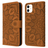 Mandala Book-Style Embossed Leather Folio Case for iPhone 11 - Brown