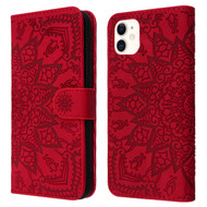 Mandala Book-Style Embossed Leather Folio Case for iPhone 11 - Red