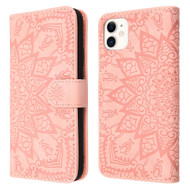 Mandala Book-Style Embossed Leather Folio Case for iPhone 11 - Pink