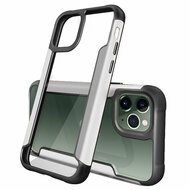 Transparent Shield Hybrid Armor Case with Aircraft Aluminum Side Grip for iPhone 11 Pro Max - Silver