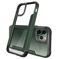 Transparent Shield Hybrid Armor Case with Aircraft Aluminum Side Grip for iPhone 11 Pro - Midnight Green