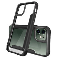 Transparent Shield Hybrid Armor Case with Aircraft Aluminum Side Grip for iPhone 11 - Black