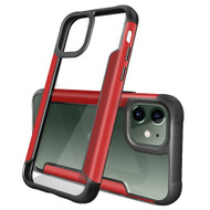 Transparent Shield Hybrid Armor Case with Aircraft Aluminum Side Grip for iPhone 11 - Red