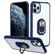 *Sale* Ultra Hybrid Transparent Case with 360° Rotating Ring Holder for iPhone 11 Pro - Navy Blue
