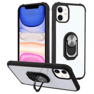 Ultra Hybrid Transparent Case with 360° Rotating Ring Holder for iPhone 11 - Black