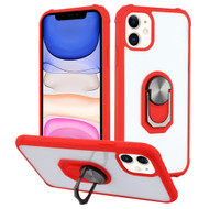 Ultra Hybrid Transparent Case with 360° Rotating Ring Holder for iPhone 11 - Red