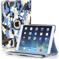 360 Degree Smart Rotating Leather Case for iPad 9.7 (2018/2017) - Camouflage Blue