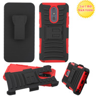 Advanced Armor Hybrid Kickstand Case with Holster Belt Clip for LG Stylo 5 - Red