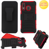 Advanced Armor Hybrid Kickstand Case with Holster Belt Clip for Samsung Galaxy A50 / A20 - Red