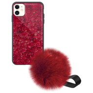 Liquid Glass Finish Pomzie Hybrid Case with Faux Fur Pom Pom Hand Strap for iPhone 11 - Ruby Red