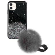 Liquid Glass Finish Pomzie Hybrid Case with Faux Fur Pom Pom Hand Strap for iPhone 11 - Black Glitter