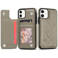 Stow Wallet Leather Hybrid Case with 3 Card Compartment for iPhone 11 - Butterfly Grey