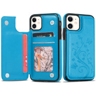 Stow Wallet Leather Hybrid Case with 3 Card Compartment for iPhone 11 - Butterfly Blue