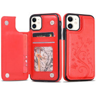 Stow Wallet Leather Hybrid Case with 3 Card Compartment for iPhone 11 - Butterfly Red