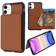 Pocket Wallet Case with Stand for iPhone 11 - Brown