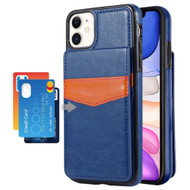 Flap Leather Wallet Fusion Case for iPhone 11 - Navy Blue