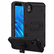 Military Grade Certified Storm Tank Hybrid Armor Case with Stand for Motorola Moto E6 - Black
