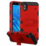 Military Grade Certified Storm Tank Hybrid Armor Case with Stand for Motorola Moto E6 - Red