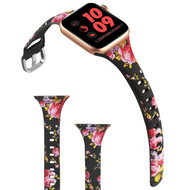Slim Band Design Silicone Watch Strap for Apple Watch 44mm / 42mm - Pink Roses