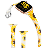 Slim Band Design Silicone Watch Strap for Apple Watch 44mm / 42mm - Sunflower