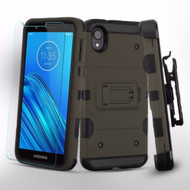 3-IN-1 Military Grade Certified Storm Tank Case + Holster + Tempered Glass Screen Protector for Motorola Moto E6 - Grey