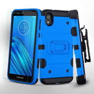 3-IN-1 Military Grade Certified Storm Tank Case + Holster + Tempered Glass Screen Protector for Motorola Moto E6 - Blue