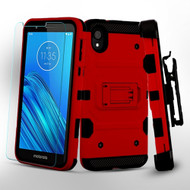 3-IN-1 Military Grade Certified Storm Tank Case + Holster + Tempered Glass Screen Protector for Motorola Moto E6 - Red