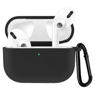 Silicone Protective Case with Carabiner Clip for Apple AirPods Pro - Black