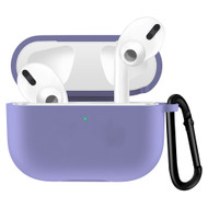 Silicone Protective Case with Carabiner Clip for Apple AirPods Pro - Purple