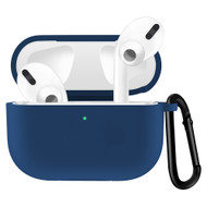 Silicone Protective Case with Carabiner Clip for Apple AirPods Pro - Navy Blue
