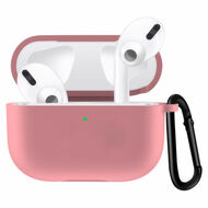 Silicone Protective Case with Carabiner Clip for Apple AirPods Pro - Pink