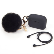 Silicone Protective Case with Anti-Lost Strap and Faux Fur Pom Pom Keychain for Apple AirPods Pro - Black