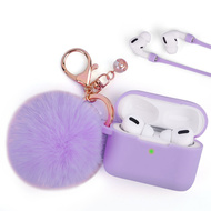 Silicone Protective Case with Anti-Lost Strap and Faux Fur Pom Pom Keychain for Apple AirPods Pro - Purple