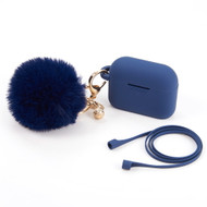 Silicone Protective Case with Anti-Lost Strap and Faux Fur Pom Pom Keychain for Apple AirPods Pro - Navy Blue