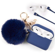 *Sale* Silicone Protective Case with Anti-Lost Strap and Faux Fur Pom Pom Keychain for Apple AirPods Pro - Navy Blue