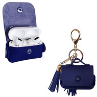 Leather Protective Case with Tassel Ornaments for Apple AirPods Pro - Navy Blue