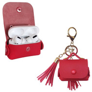Leather Protective Case with Tassel Ornaments for Apple AirPods Pro - Red