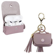 Leather Protective Case with Tassel Ornaments for Apple AirPods Pro - Light Purple