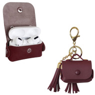 Leather Protective Case with Tassel Ornaments for Apple AirPods Pro - Burgundy