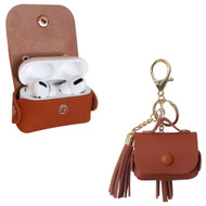 Leather Protective Case with Tassel Ornaments for Apple AirPods Pro - Brown