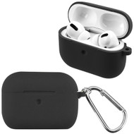 Silicone Protective Case with Detachable Carabiner Clip for Apple AirPods Pro - Black