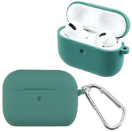 Silicone Protective Case with Detachable Carabiner Clip for Apple AirPods Pro - Midnight Green