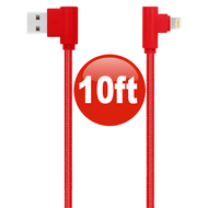 "10 ft. ""L"" Connector Lightning Braided Charge & Sync Cable - Red"